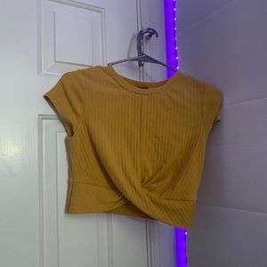 forever 21 yellow ribbed crop top